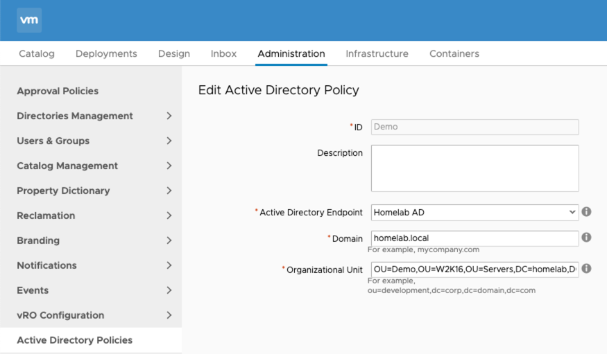 New Active Directory Policy