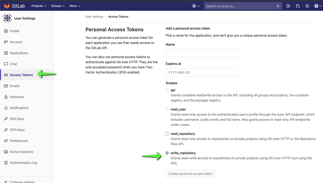Gitlab access token