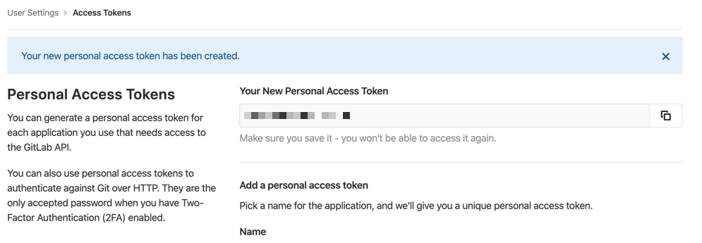 Gitlab access token generated
